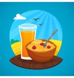 Breakfast Design Concept At Rural Landscape vector image