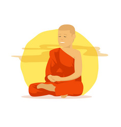buddhist monk with orange robes are doing vector image