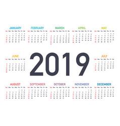 calendar 2019 week starts from sunday business vector image