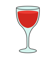cartoon glass of red wine isolated vector image