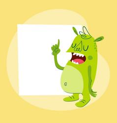 Cartoon monster next to a card vector
