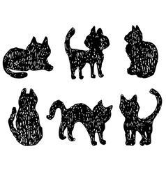 Cats collection silhouette black cats vector image