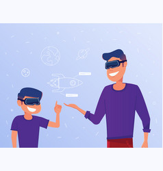 caucasian man and kid in vr headsets studying a vector image