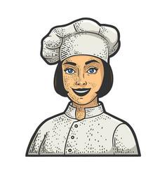 Chef girl sketch vector
