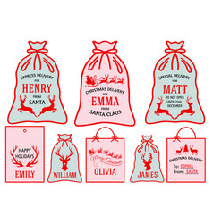 christmas bags stockings set vector image