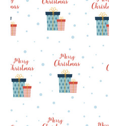 christmas pattern with cute gifts vector image