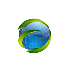 circle world globe with green swoosh logo template vector image