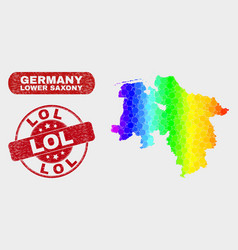 Colored mosaic lower saxony land map and distress vector