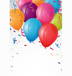 Colorful birthday balloon and confetti vector