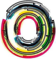 Colorful Grunge font LETTER O vector