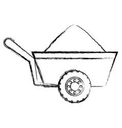 construction wheelbarrow icon vector image