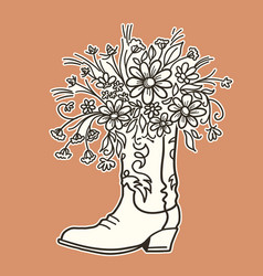 Cowboy boot with flowers isolated for design vector