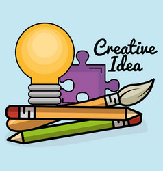 creative ideas set icons vector image