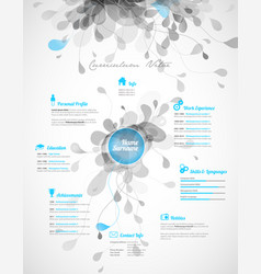 Creative turquoise color cv resume template vector