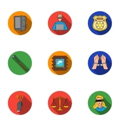 Crime set icons in flat style big collection of vector