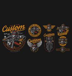 Custom motorcycle labels set vector