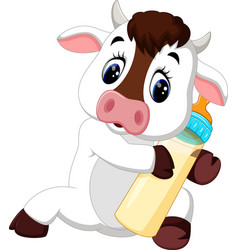 cute baby cow cartoon vector image