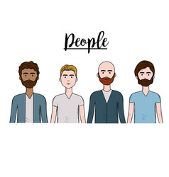 Cute men with hairstyle and different wear vector