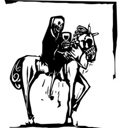 death drinking wine on horse vector image