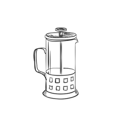 Doodle coffee french press pot vector