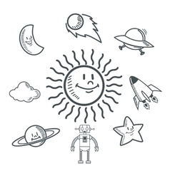 Doodle icon design space icon draw concept vector