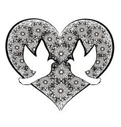 doves with flourishes heart vector image vector image