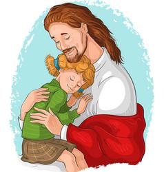 Embrace god jesus hugging girl vector