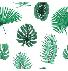 Exot tropical green leaves seamless pattern float vector