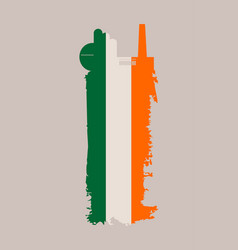 factory icon and grunge brush ireland flag vector image