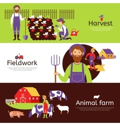 Farmers fieldwork harvest horizontal banners set vector