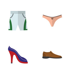 Flat dress set of heeled shoe lingerie male vector