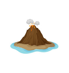 Flat icon of volcanic eruption with hot vector