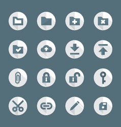 Flat style various file actions icons set vector