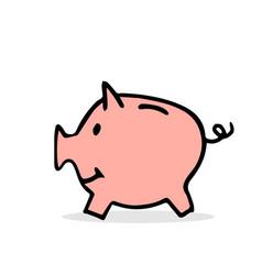 free hand drawing of pig money box vector image