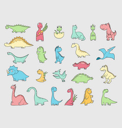 Funny dinosaurs ancient angry animals wild vector