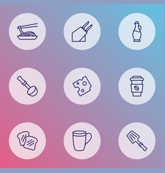 Gastronomy icons line style set with olive oil vector