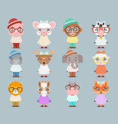 geek hipster cute animal boy girl cubs mascot vector image
