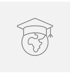 Globe in graduation cap line icon vector