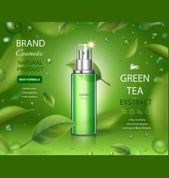 Green tea skincare moisture cosmetic spray ads vector