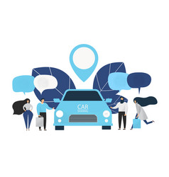 Group of people rent a car in carsharing service vector