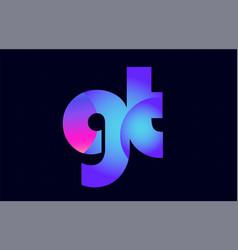 Gt g t spink blue gradient alphabet letter vector