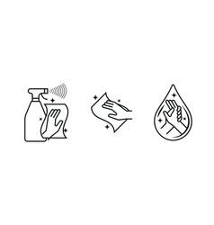 Hand wash sanitizer antibacterial wipes vector