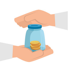 Hands and moneybox with coins isolated icon vector