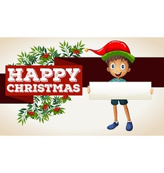 Happy christmas theme with boy and sign vector