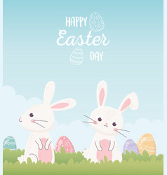 happy easter cute bunnies with eggs invitation vector image