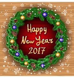 happy new year 2017 green wreath Realistic vector image
