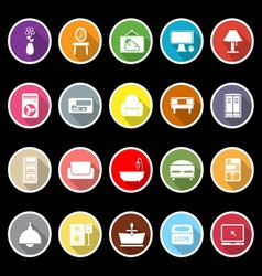 Home furniture icons with long shadow vector image