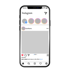 Instagram post template on apple iphone vector