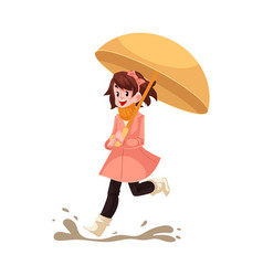 Kid girl under umbrella jumps in puddle in rain vector