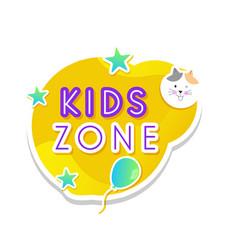Kids zone label text sticker childish badge 02 vector